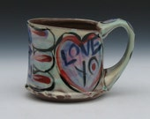 love mug with blue red purple copper rutile handmade pottery