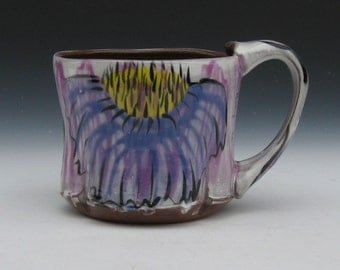 cone flower mug purple and yellow large mug