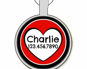 Queen of Hearts Silver Custom Personalized Dog ID Pet Tag Custom Pet Tag You Choose Tag Size & Colors