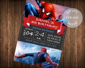 Spiderman Birthday Party Invitation, Spiderman Invitation, Spiderman Thank you card - PDF and JPEG digital file