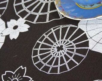 Japanese Umbrella White on Black Linen Tea Towel