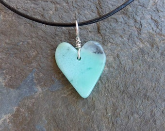 Chrysoprase heart pendant necklace -  gentle green gem stone heart necklace - ethical sourced Australian gem stone