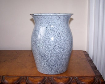 Graniteware Vase, Grey Gray Enamel, Grey Gray Enamelware, Metal Vase