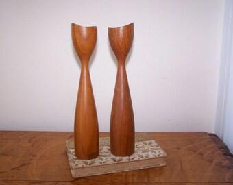 Danish Modern, Teak Wood Candlesticks, Turned Wood, Mid Century Modern, Modern Wood Design, Sculptural Wood, Wood