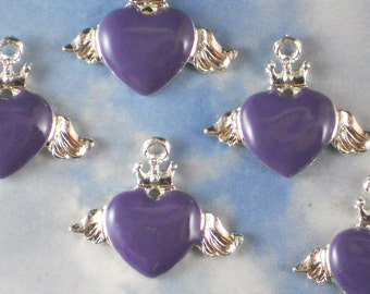 10 Purple Enamel Winged Heart Charms Silver Tone Metal (P1962)