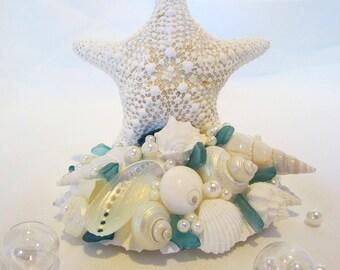 Beach Cake Topper, Beach Wedding Cake Topper, Nautical Wedding Cake Topper, Starfish Cake Topper, Sea Glass Cake Topper,  #CTJC
