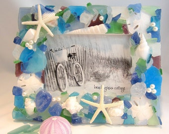"Beach Decor Sea Glass Picture Frame, Nautical Decor Beach Glass Frame, Seaglass Frame, Beach Glass Picture Frame, 8x10"" - #SGF810"