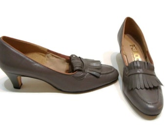 Vintage Grey Leather Loafers Grey Loafers For Women Vintage Loafers Womens Heeled Loafers For Women Vintage Leather Heels Leather Loafers