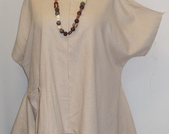Coco and Juan Lagenlook  Womens Plus Size Top Short Sleeved Oatmeal Linen Angled Tunic Top One Size Bust  to 58 inches