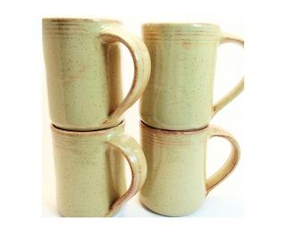 Set of 4 Handmade Coffee Mugs -- Sahara Cream Ceramic handmade mug -- Hand thrown pottery coffee mug