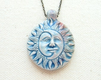 Sun and moon necklace ceramic crescent moon pendant pagan jewelry hippie necklace bohemian jewelry