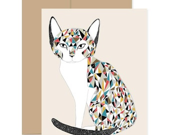 Cat Greeting Card, Calico Cat Card, Cat Lover Card, Rainbow Cat Card, Animal Lover Card, Fancy Cat Card, Just Because Card