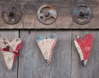 Primitive and Tattered Antique Quilt Heart Ornaments