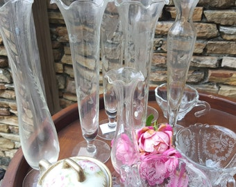 Vintage Fluted etched glass Bud Vases Wedding Bridal Tea Dinner Party 8 available