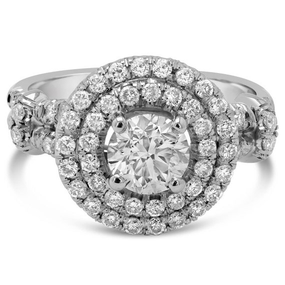 1.85ctw ound cut ANTIQUE STYLE double halo diamond engagement ring AR129