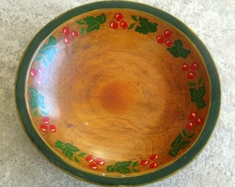 Vintage Wooden Bowl Maple Wood Cherries Leaves Primitive Hand Painted Red Green 1950s