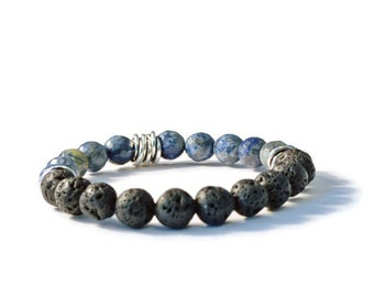 Essential Oil Diffuser Bracelet, Sodalite & Natural Lava Stones