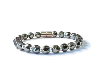 Black Magnetic Hematite Bracelet, Health Jewelry, Arthritis Pain Relief