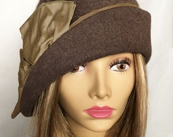 Ashley,  Fur Felt Cloche with side drape, color is brown heather . millinery hat