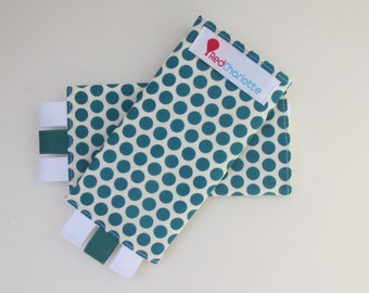 ORGANIC Sucking Pads - Birch Fabrics Dottie Teal -these fit Ergo, Tula, Mei Tai, Beco, Boba, BabyHawk and more