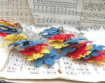 groovy floral earrings whimsical assemblage upcycle found filigree flower homespun kitsch