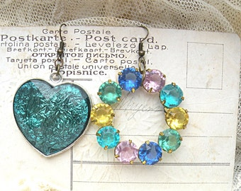 funky mismatch earrings assemblage circle heart rescued jewelry