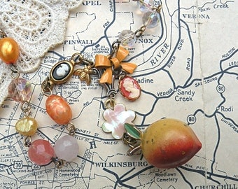 peach fruit necklace assemblage eco friendly summer cameo