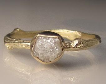 Raw Diamond Engagement Ring, 14k Yellow Gold Diamond Twig Ring, Raw Diamond Ring, Twig Engagement Ring