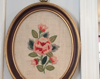 Vintage Crewel Work Floral with frames