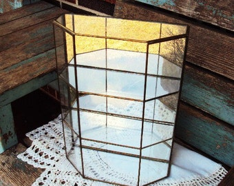 Vintage Mirror Glass and Brass Curio Display Case Cabinet for Jewelry or Trinkets Terrarium Wall Hanging Display or Stand