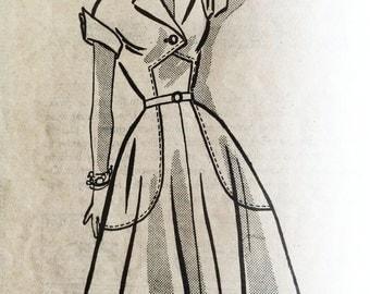 1950s Summer Dress Size 16 Bust 34 Hip 37  Mid Century 1952 Atomic Era Mail Order Pattern