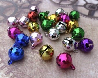 free shipping within UK - Colourful Jingle Bells with Loop Pack of 30