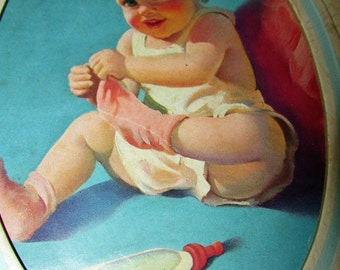 Vintage 1943 BABY BOOK Birth To 6 Life Insurance Gift Great Graphics