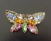 Vintage Butterfly Brooch, Dressy Brooch, Dressy Jewelry, 1960s Costume Jewelry, Jewelry Accessories, Rhinestone Jewelry, Butterfly Jewelry