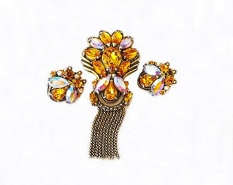 Vintage Jewelry Set, Amber Rhinestone Brooch and Earring Set, Costume Jewelry, Dressy Jewelry