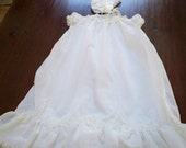 Vintage Clothing Baby Girl Long Christening Gown 6 Month Bonnet and Gown