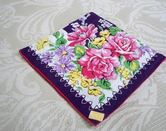 Vintage Accessory Handkerchief Kimball Label Linen Pink Rose Collectible