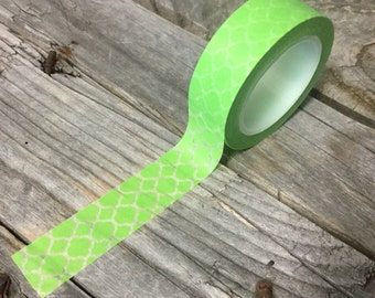 Washi Tape - 15mm - White Quatrefoil on Green - Deco Paper Tape No. 867