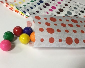 50% OFF!! Set of 100 - Traditional Polka Dot Sweet Shop Paper Bags - 10 x 14