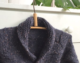 Boys Knitted Sweater  - Kids Shawl Collar Woolly Jumper - Size 3