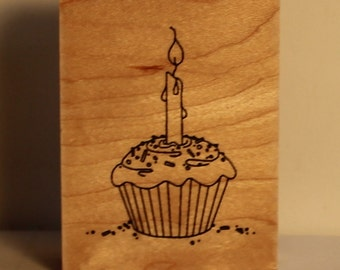 Birthday Cupcake with One Candle and sprinkles Rubber Stamp