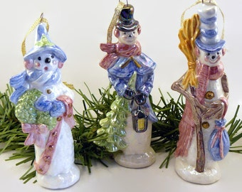 Ceramic Oakknob Snowman Ornament Set of Three