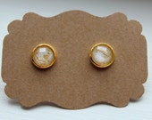 White Gold Foil Earrings, Gold Foil Earrings, 8mm Stud Earring, Gold Post, Resin Gold Foil, Gold White Earring, Stud Earrings, Resin Post