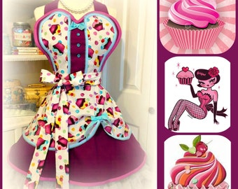 Retro handmade cupcakes woman's apron, kitchy, full, sweetheart, hearts