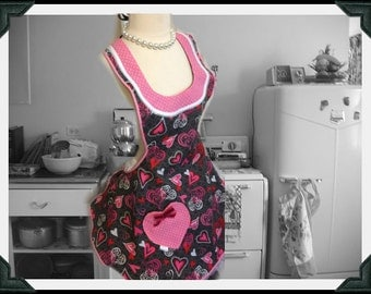 Retro Handmade woman's apron in hearts theme, full, kitchen, baking, over the head, Valentine's, Day, Bridal gifts, pretty