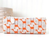 Fox Pencil Case Orange and Gray Pencil Pouch Fox Cosmetic Bag Purse Organizer