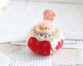 Red and Pink Cute Bird Pincushion Cotton Pin Cushion Pink Bird Pin Keep