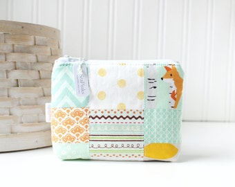 Patchwork Pastels Coin Purse Gift Card Credit Card Holder Fox Zipper Pouch Mint Change Purse