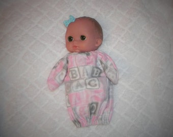 8LC-CS-03) 8 inch Lil Cutesies Berenguer baby doll clothes, 1 flannel sleeper with panties