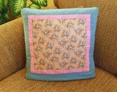 Ready to Ship! One Of A Kind! Country Blue Roses QUILLOW - dusty pink and blue mini floral - personal quilt that folds into a pillow